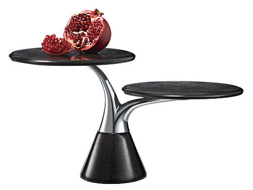 Nambe's two-tiered black granite Rocks server gives food a little lift.