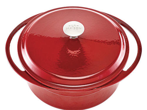 Love the elliptical handles on this sturdy enameled cast-iron Dutch oven.