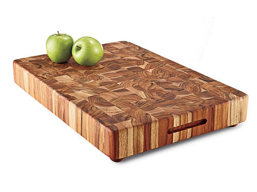 Slab-sized, won't-go-sliding-away cutting board in indestructible teak.