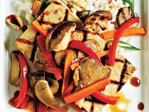 This quick vegetarian entrée is full of flavor and rich vegetables. Piercing the tofu with a fork allows the sesame oil and soy sauce to absorb into the tofu, making it more flavorful.
