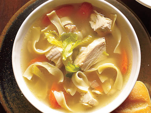 Old-Fashioned Chicken Noodle Soup is classic American comfort food. Flavorful stock, fresh-cooked chicken, traditional vegetables, and egg noodles lend starchy body to the broth of this favorite soup.