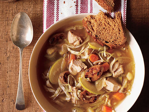 Chicken Soup with Cabbage and Apple is the definition of hearty in a bowl. Earthy green cabbage mingles with moist shredded chicken, chicken sausage, and broth-soaked potatoes. Tart, crunchy apple slices add a fruity counterpoint to this German-inspired soup.