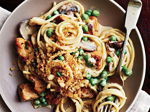 Porcini and cremini mushrooms plus three types of cheese elevate weeknight Chicken Spaghetti to a higher level. Kids will love the creaminess of Chicken Spaghetti and parents will appreciate the added English peas.