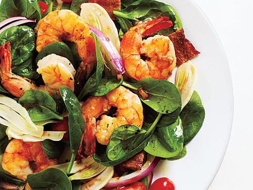 Fennel and Spinach Salad with Shrimp and Balsamic Vinaigrette Recipe