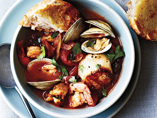 Use best-quality clams, scallops, and wild-caught shrimp, and cook gently for beautiful texture and sweetness. Serve with warm sourdough bread.