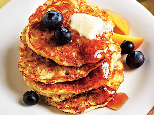Oatmeal adds texture to a hearty, satisfying pancake. For even more flavor, top with your favorite fruit.