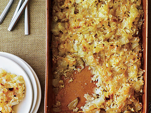 Onions, rice, and a creamy cheese sauce make this casserole a winner in our book. We're fairly sure you'll agree.