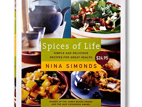 "Spices of Life: Simple and Delicious Recipes for Great HealthBy Nina Simonds, Knopf, 2005. Hardcover. $25; 383 pagesThis is a fascinating book, more ambitiously and wholly health-focused than any other book on our list, yet harder to pin down: It's an East-meets-West chef's salad of conventional and holistic ideas, all rooted in Simonds' belief in the importance of a good, balanced diet and the ""tonic"" properties of herbs and spices. The pages include brief asides with appearances from health experts (like Andrew Weil, on the holistic side, and Med-diet guru Walter Willett, on the science side); breathing exercises; a color-driven approach to food choices; and ""Dr. Duke's Anti Fatigue Tea."""