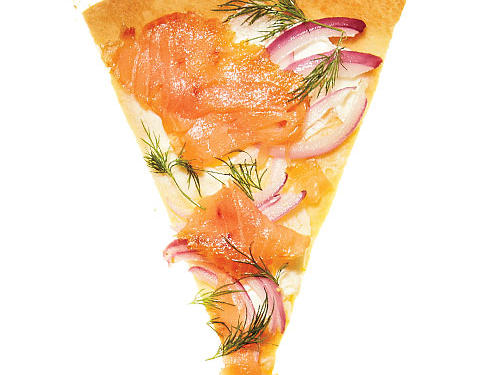 Base: 1 tablespoon fresh lemon juice + ½ cup 1/3-less-fat cream cheeseToppers: 4 ounces sliced smoked salmon + 1/3 cup thinly sliced red onion + 1 tablespoon chopped fresh dill