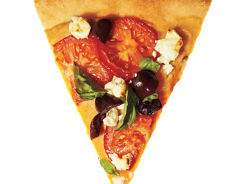 Base: ¾ cup ready-made Greek-style hummusToppers: 6 sliced plum tomatoes + 1/3 cup black olives + ½ cup crumbled feta cheese + ½ cup chopped fresh basil
