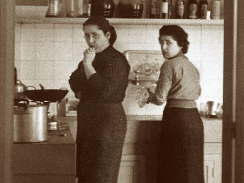 Helou's mother, Sarah (left), and aunt Jeanette in their Beirut kitchen circa 1960