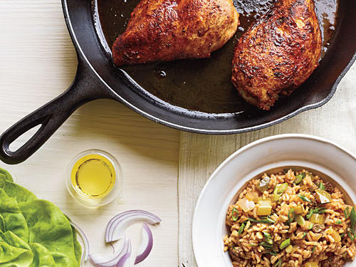 View Menu: Blackened Chicken with Dirty Rice Menu