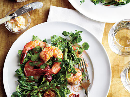 View Menu: Romaine, Asparagus, and Watercress Salad with Shrimp Menu