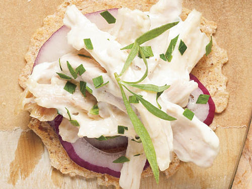 A combo of yogurt and mayo gives a traditional chicken salad more zip. We like the richness of white and dark meat, but you can use all one type.Creamy Tarragon Chicken Salad on whole-grain crackersSteamed Sugar Snap PeasView Menu: Creamy Tarragon Chicken Salad on whole-grain crackers Menu