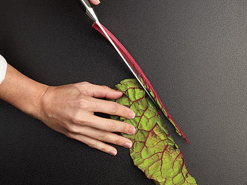 Swiss Chard Prep: Fold Each Leaf