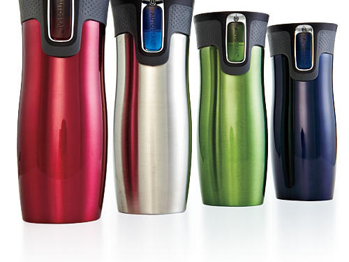 Curvaceous 16-ounce Contigo stainless-steel travel mugs have truly leak-proof lids ($20; www.gocontigo.com). EXCLUSIVE DEAL: Use promo code 20COOK2012 for a 20% discount.Discounts available from March 12 to May 12, 2012, or while supplies last.