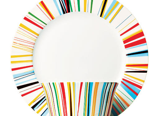Fun striped tableware adds a bit of color to the dinnertime lineup ($8-12 a piece; cwonder.com).