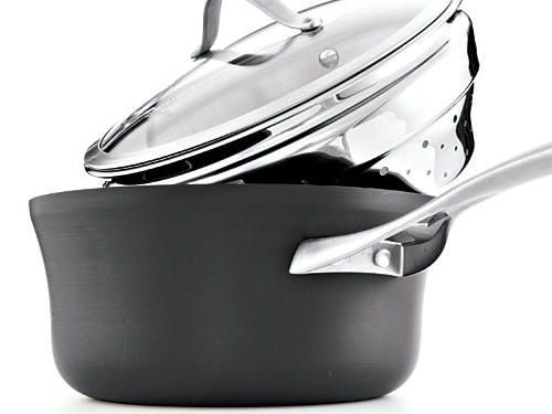 Calphalon's Nonstick 4.5-Quart Saucepan with Steamer Insert makes a versatile addition to any kitchen ($100; store.calphalon.com).
