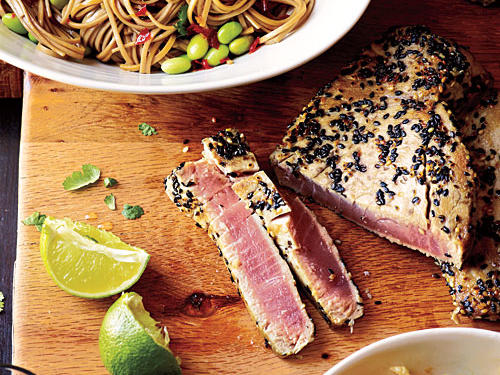 Use all white sesame seeds if black seeds are unavailable.Sesame Tuna with Edamame and SobaNapa Cabbage SlawView Menu: Sesame Tuna with Edamame and Soba Menu