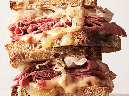 With sauerkraut, corned beef, and rye bread, sodium is a serious issue in a traditional Reuben. Add dressing and cheese, and the saturated fat and calories start to climb, too. Not to fear: Our lighter, lower-sodium version is just as delicious. Chili sauce is a ketchup-based sauce. If you can't find it, substitute ketchup.