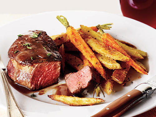 May: Beef Filets with Red Wine Sauce and Roasted Veggie Fries