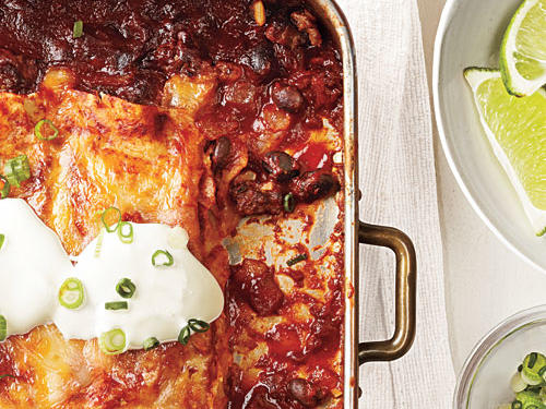 Full of protein and only 343 calories per serving, these enchiladas are savory and satisfying. You can make all the components ahead of time and simply assemble the enchiladas before baking.