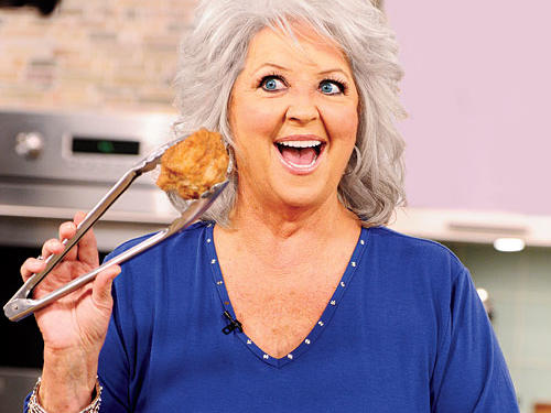 Deen, one of the last quarter-century's true champions of high-fat foods, causes a minor web ruckus in 2006, when she drinks butter—or, as we judge it upon reviewing the tape, pretends to—from a bowl on one of her TV shows. She tops this in 2011 when she licks butter off the abs of Food Network muscle man/chef Robert Irvine, and then rides him like a horse. Early in 2012, she makes headlines after announcing that she has been suffering from type 2 diabetes for some time—and simultaneously announcing a diabetes drug--endorsement deal.