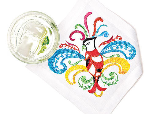 Embroidered exotic birds give any drink a tropical touch ($92/set of 6, kimseybert.com).