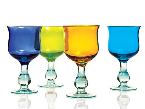 Vietri's Prism collection is made from recycled glass in four Mediterranean hues ($20 each, vietri.com).
