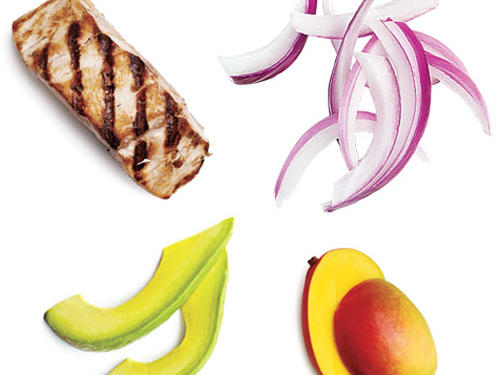 1 tablespoon sliced red onion + 2 tablespoons mango + 2 tablespoons avocado + 2 ounces grilled mahimahi fillet