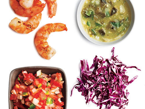 2 tablespoons pico de gallo + ¼ cup shredded red cabbage + 2 ounces lime-grilled shrimp + 1 tablespoon salsa verde