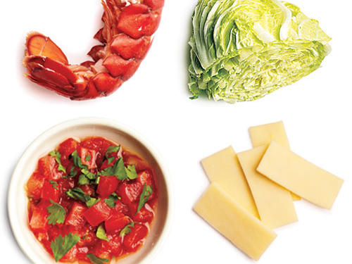 2 ounces steamed lobster + ¼ cup sliced Napa cabbage + 2 tablespoons Monterey Jack cheese + 2 tablespoons fresh salsa