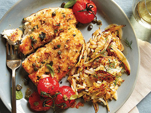 Panko and fresh herbs give flounder a crispy and flavorful coating. Oven roasted cherry tomatoes are the perfect side.