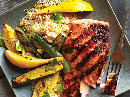 Grilled Salmon and Brown Butter Couscous Recipe