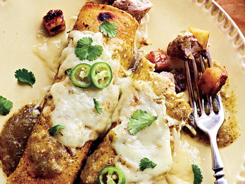 Pork and Plantain Enchiladas with Black Bean Puree