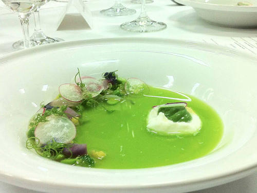 Pea broth was a luminous green. Great care taken with the presentation of this dish.