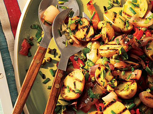 Forget the pot of water—this rustic potato salad gets you outside enjoying the sunshine as you grill up a delicious summer side dish. Grilling the vegetables brings unexpected smokiness to a familiar picnic staple.