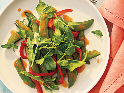 Snap Pea and Pea Shoot Stir-Fry with Gingery Orange Sauce Recipe