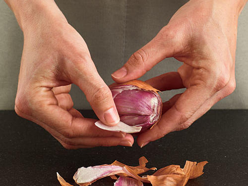 How to Mince Shallots: Step Two: Peel Off Papery Skins
