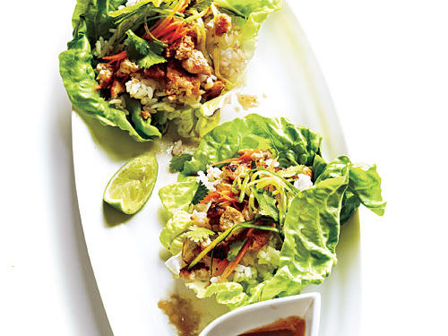 Lettuce Wraps with Hoisin-Peanut Sauce