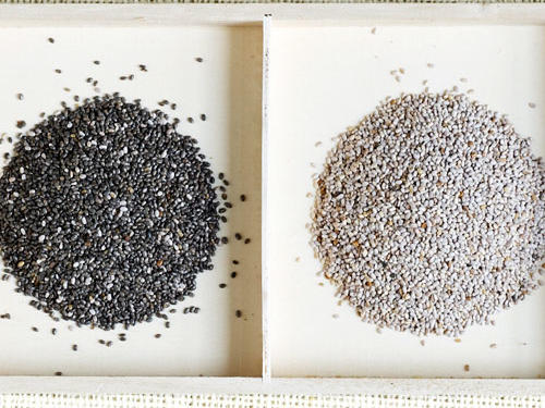 Add chia seeds to your water bottle, morning OJ, afternoon iced tea, or sprinkle them on salads, yogurt, and cereal. One ounce delivers an impressive 10 grams of fiber and 5 grams of protein. Research found they can help you eat less by naturally regulating blood sugar, which helps put the breaks on hunger.Find more Filling Foods.