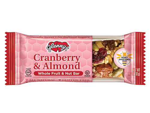 Toss your breakfast bar and pick up Glenny's Cranberry & Almond Whole Fruit & Nut Bar instead. Made from real nuts, honey, and dried fruit, these wholesome bars are free from high fructose corn syrup and contain almost no sodium. Pair one with an apple and a non-fat latte for the perfect on-the-go meal. Each bar has 150 calories, 7 grams of fat, 2 grams of fiber, 4 grams of protein, and is certified gluten-free.