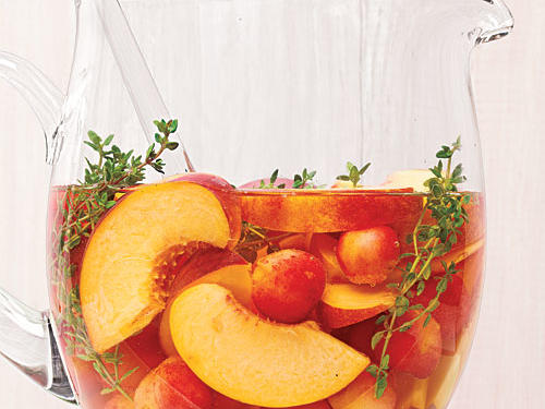 July: Cherry-Peach Sangria