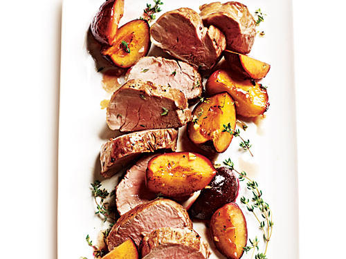Roast Pork Tenderloin with Thyme-Scented Plums
