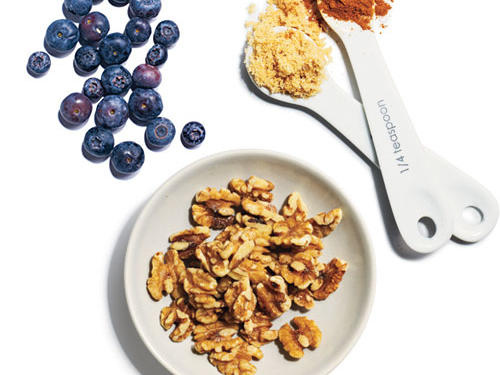 Start with 2/3 cup quinoa and then add your favorite combos. First up:1/4 cup fresh blueberries + 1 tablespoon chopped toasted walnuts + 2 teaspoons brown sugar + 1/4 teaspoon cinnamon