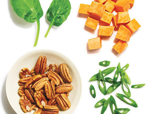 1/4 cup roasted sweet potato cubes + 1/2 cup fresh baby spinach + 1 tablespoon chopped toasted pecans + 1 tablespoon thinly sliced green onions