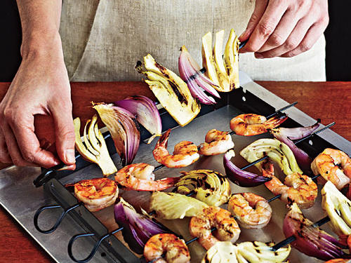 For the avid griller, the Weber Kabob Set includes skewers and a rack. Slip skewers in place and place the whole thing on the grill (racks fit most models). The skewer station is also easy to transport and makes a dramatic presentation at the table ($22, amazon.com).