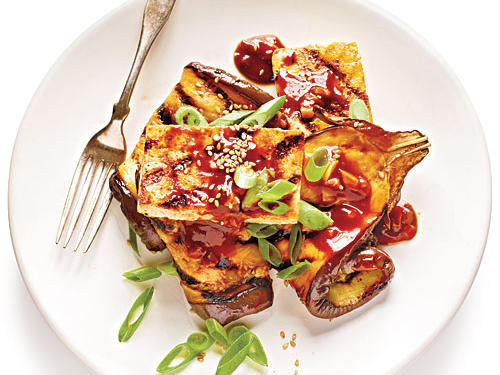 We turned up the the flavor with this Chinese-style barbecue dish of Grilled Eggplant and Tofu Steaks with Sticky Hoisin Glaze. This vegetarian dish captures the essence of great barbecue without relying on meat.