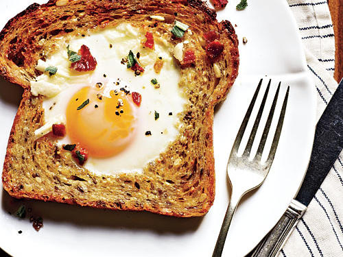 These bacon-and-egg toasts make for a fun breakfast or easy dinner. This kid-friendly recipe is sure to be a hit, any time of day.