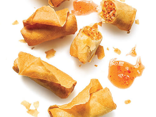 Serve with spicy Sriracha sauce or sweet red chili sauce. You can assemble spring rolls and freeze them until game day arrives. Then cook and serve.